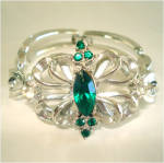 Click to view larger image of Demi Parure Stylized Butterfly Emerald Rhinestone Necklace Bracelet  Set (Image4)
