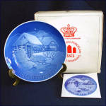 Click here to enlarge image and see more about item 8708: Bing Grondahl 1975 Water Mill Christmas Plate With Box