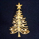 Christmas Tree Pin or Brooch Goldtone With Rhinestones