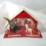 Click here to enlarge image and see more about item 8786-2: Christmas Mica Putz Diorama House With Beads, Mirrors, Reindeer