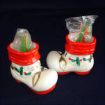 Santa Boot Ceramic Christmas Toothpick Holders Set 2