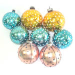 8 Mica Polka Dot 1950s Glass Christmas Ornaments