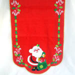 Click here to enlarge image and see more about item 8926: Jeweled Applique Santa Claus Christmas Red Felt Table Runner