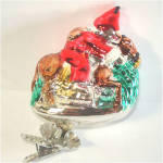 Click to view larger image of Santa Claus on Horseback Boxed Inge Glass Clip Christmas Ornament (Image3)