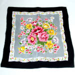 Click here to enlarge image and see more about item 8945-3: Silky Vintage Hankie Pink Floral Bouquet Black Border