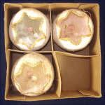 Click here to enlarge image and see more about item 8945: Box 1950s Diorama Christmas Ornaments Feather Angels Inside