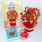 Click here to enlarge image and see more about item 8959: Hearts and Flowers Honeycomb Paper Valentine Decorations
