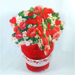 Click to view larger image of Hearts and Flowers Honeycomb Paper Valentine Decorations (Image2)