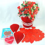 Click to view larger image of Hearts and Flowers Honeycomb Paper Valentine Decorations (Image3)