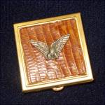 Click here to enlarge image and see more about item 9007: Brass Pill Box Metal Duck on Faux Alligator Skin