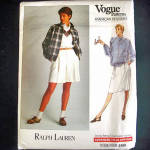 Vogue Ralph Lauren Casual Jacket Shorts Skirt Sewing Pattern Uncut