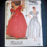 Click to view larger image of Vogue Bellville Sassoon Formal or Bridal Dress Sewing Pattern Uncut Size 6 (Image1)
