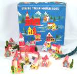 Click here to enlarge image and see more about item 9033-2: Italian Cardboard Lighted Christmas Putz Village Set In Box