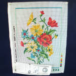 Click here to enlarge image and see more about item 9039-2: DMC French Flower Bouquet Needlepoint Canvas to Stitch