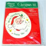 Click here to enlarge image and see more about item 9130: 1959 Jolly Santa Johnny Cover Sequin Bead Christmas Toilet Lid Kit