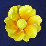 Click here to enlarge image and see more about item 9140-2: Big Bright Yellow Flower Power 1960s Enamel Pin Brooch