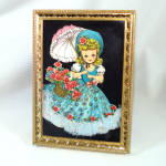 Click here to enlarge image and see more about item 9159-2: 1960s Paper Art Framed Parasol Girl Sequin Lace Picture