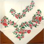 Click here to enlarge image and see more about item 9162: Christmas Bells, Ornaments, Holly Tablecloth 53 by 64