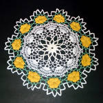Click here to enlarge image and see more about item 9185-2: Lacy Crocheted Yellow Roses 14 Inch Vintage Doily