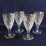 Click here to enlarge image and see more about item 9185-3: Fostoria American Set 4 Hex Foot Water Goblets