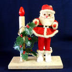 Click here to enlarge image and see more about item 9212-2: Electric Lighted Christmas Candle Santa Claus Display 1960s