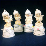 Porcelain Cherub Bell Figurines, Set of 4