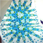 Click to view larger image of Dramatic Bold Blue Flowers Vintage Cotton Tablecloth (Image2)