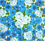 Click to view larger image of Dramatic Bold Blue Flowers Vintage Cotton Tablecloth (Image4)