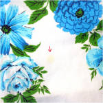 Click to view larger image of Dramatic Bold Blue Flowers Vintage Cotton Tablecloth (Image5)