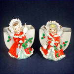 Click here to enlarge image and see more about item 9256: Pair Japan Christmas Angel Planter Vases