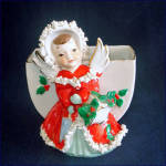 Click to view larger image of Pair Japan Christmas Angel Planter Vases (Image4)
