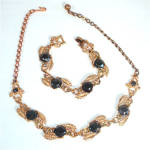 Black Glass Stones in Linked Leaf Setting Demi Parure Necklace and Bracelet