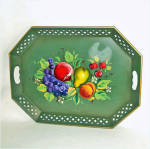 Click here to enlarge image and see more about item 9313: Nashco Tole Tray Green With Fruit