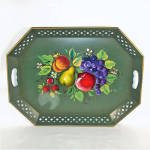 Click to view larger image of Nashco Tole Tray Green With Fruit (Image2)