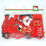 Click to view larger image of Santa Train 1960s Christmas Card Holder Mint in Package (Image2)