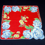 Click here to enlarge image and see more about item 9319-2: Bold Blue Roses on Red Ladies Cotton Hankie