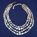 Click here to enlarge image and see more about item 9388-3: Four Strand 1950s Glass Bead Necklace Clear White Clambroth