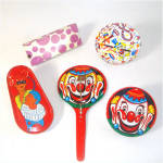 Tin Litho Birthday and New Years Party Noisemakers Lot of 5