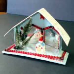 Click here to enlarge image and see more about item 9390-5: Christmas Mica Putz Diorama House With Beads, Mirrors, Church