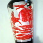 Click to view larger image of Glass Red and Black Oriental Style Crane Scene Vase (Image2)