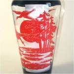 Click to view larger image of Glass Red and Black Oriental Style Crane Scene Vase (Image3)