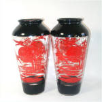 Click to view larger image of Glass Red and Black Oriental Style Crane Scene Vase (Image4)