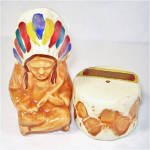 Click here to enlarge image and see more about item 9404: Indian Chief and Drum Pottery Salt and Pepper Shakers