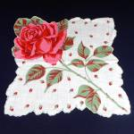 Click here to enlarge image and see more about item 9442-2: Scalloped Pink Rose Stem Ladies Cotton Hankie