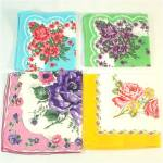 Click here to enlarge image and see more about item 9473: Four Cotton Vintage Flowered Ladies' Hankies