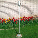 4-Light 1920s Floor Lamp White with Gold Gilt and Slag Glass Base