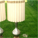 Click to view larger image of Venetian Art Glass Silver Underlay Table Lamp Gold White Enameling (Image1)