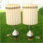 Click to view larger image of Venetian Art Glass Silver Underlay Table Lamp Gold White Enameling (Image7)