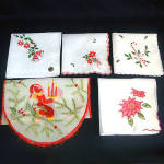 Click here to enlarge image and see more about item 9493: 4 Vintage Christmas Hankies Plus Embroidered God Jul Runner