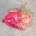 Click to view larger image of Pink Wired Glass Helicopter West Germany Christmas Ornament (Image2)